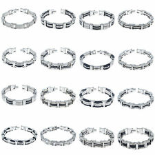 Men Unisex Stainless Steel Rubber Bracelet Chain Charm Link Bangle Jewelry