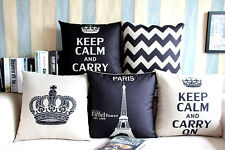 "Classic Eiffel Tower Zigzag Square Linen Pillow Case Cushion Cover Sham 18""x18"""