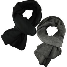 New Mens Scarf Winter Wrap Plain Soft Fleece Long Scarves Thin Warm Black Grey