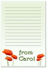 na Personalised NOTELETS lined writing paper pk 16 & envelopes, notes, A6 POPPY