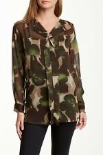 INSIGHT Brown & Green CAMO Floral Long Sleeve Sheer Blouse NWT Sz 4 6 8