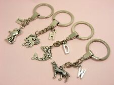 Alphabet LETTER Initial A-Z KEY Chain RING w/CHARM ~Horse/ Micky/ Dolphin/ Wolf