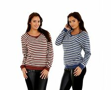 Ladies Striped Top Sweat Jumper Brown Womens Navy Sweater Long Sleeve