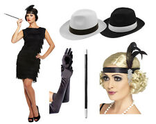 Womens Flapper Lady Costume & Accessories Cigarette Black/White Hat Long Gloves
