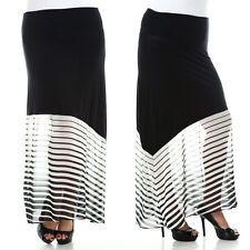 NEW Plus Size Flare Maxi Skirt Solid Stripes Animal Print 1X 2X 3X 4X 5X 6X