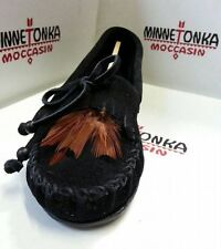 Minnetonka Moccasins 460 Women's Feather Kilty Black Suede