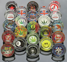 Novelty Round Thick Glass Ashtray Cannabis Leaf Pirate Tattoo Skull Smiley Face