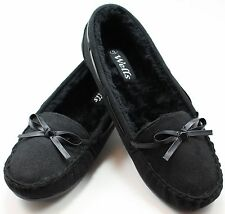 Women's Elegant MOCCASIN SLIP ON SOFT FUR LINED SUEDE FLATS ,FREE SHIPPING