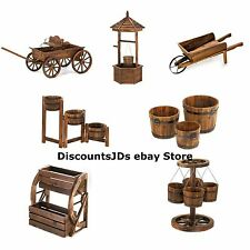 Wood PLANTER Wagon Wheel Hanging Bucket Box Flower Cart