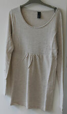 EX H&M New Soft Knit Tunic Jumper Cream  6 8 10 12 Lightweight