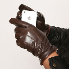 Mens Genuine Nappa Leather Touch Screen Function Warm Lined Gloves On Sale #011