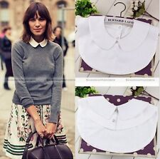White Black Women Fake Half Shirt Blouse PeterPan Detachable Collar Tie