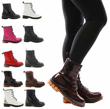 LADIES WOMENS LACE UP ANKLE BOOTS MILITARY COMBAT PUNK DOC GOTH CELEB  SHOES