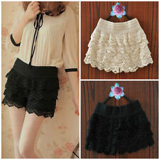 Cute Womens Lady Fashion Crochet Tiered Lace Petal Shorts Skorts