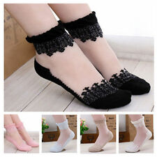 New! Lady women Ultrathin transparent Lace stockings crystal glass Socks 6 Color