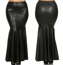 PLUS BLACK FAUX LEATHER HIGH WAIST SLIM FITTED LONG MERMAID FLARE MAXI SKIRT