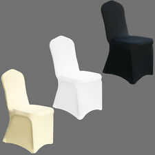 100 White / Black Spandex Lycra Chair Covers Wedding Banquet Party FLAT FRONT