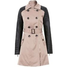 New Contrast Faux Leather PU Sleeve Double Breasted Belted Zip Mac Trench Coat