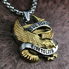 Men's Eagle Biker  LIVE TO RIDE Pendant Rolo Chain Necklace Hawk Stainless Steel