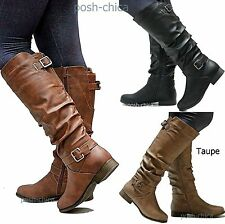 New Women TS66 Tan Black Riding Knee High Boots sz 5 to 10