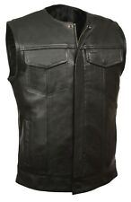 Men's SOA Collarless Leather Vest Zipper & Snap Front w/ Dual Inside Gun Pockets