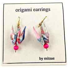 VINTAGE JAPANESE ORIGAMI CRANE EARRINGS. 1980s! by MITSUE SUPERIOR! lot#JB3