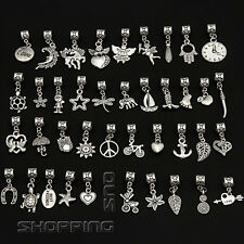 Mix Tibetan Silver Dangle Charm Fit European Bracelet Bails Lots Beads Pendants