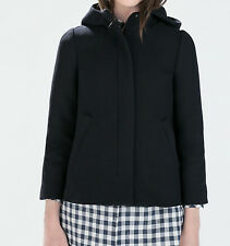 ZARA HOODED WOOL COAT NAVY BLUE XS-XL Ref. 7896/306