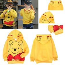 Aged 2-8 Kids Boys Girls Long Yellow Casual Sleeve Coat Winnie the Pooh Hoodies