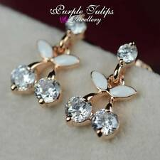 18CT Rose Gold Plated Sparkling Cherries Stud Earrings W/Swarovski Crystal
