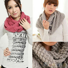 Women Sweet Winter Warm Infinity Wrap 2 Circle Shawl Cable Knit Cowl Neck Scarf