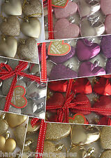HEART SHAPED BAUBLES CHRISTMAS TREE DECORATION RED GOLD PINK PURPLE SILVER BLUE
