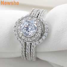 5CT HALO ROUND 925 STERLING SILVER WHITE GOLD PLATED ENGAGEMENT RING SET SZ 5-11