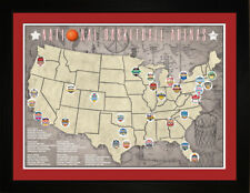 NBA National Basketball Arenas Stadiums Teams Tracking Location Map Print TBASK