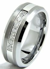 Men's Diamond Tungsten Wedding band Ring 8mm Real Diamonds Modern Anniversary