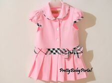 NEW GIRLS Baby Toddler Kid's  Clothes Short Sleeve Light Pink One Piece Dress