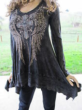Vocal Crystals Cross Angel Wings Tattoo Black Mineral Wash Tunic Shirt S M L XL
