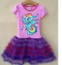 New Girls My Little Pony Dresses Kids Tutu Dress Short Sleeve Clothes Age2-7Year
