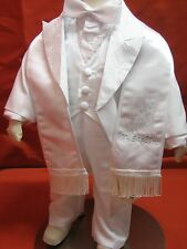Baby Boy Christening Baptism/scarf Suit/6 pcs/ Sz: XS to 4T/Gold, Silver & White