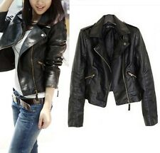 Vintage Womens Slim  Biker Motorcycle PU Soft Leather Zipper Jacket Coat Black