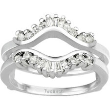 0.43CT Cubic Zirconia Traditional Contour  Jacket Ring Guard  in Sterling Silver