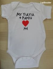 Infants 12 months White GREEK One Piece Yiayia & Papou Loves Me See Designs NEW