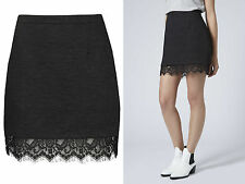 Topshop NEW in*** Black Textured Lace Hem Pelmet Skirt  RRP £36.00 All Sizes!