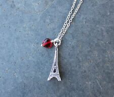 I love Paris France sterling silver necklace- red heart- Eiffel Tower charm