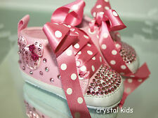 Baby Girls Reborn Pink Bling Crystal MINNIE MOUSE Shoes Boots 0 - 12 months
