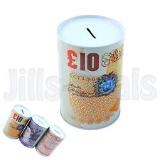 MONEY TIN CAN OPENER SHAPED POUND NOTE DESIGN NOVELTY EASY TO USE SAVING BANK
