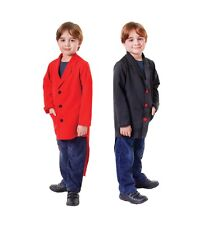 CHILD BOYS VICTORIAN EDWARDIAN TAILCOATS BLACK & RED FANCY DRESS OUTFIT 2 SIZES