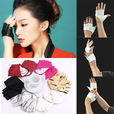 Fashion Women Lady Half Finger PU Leather Gloves Ladies Fingerless Driving Show