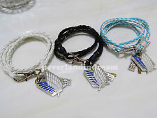 Attack on Titan PU leather Knitted bracelet/bangle w/metal pendants 3 colors