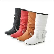 Spring Women Shoes Fashion Mid-Calf Bowknot Low Heel Women Boots With Rhinest